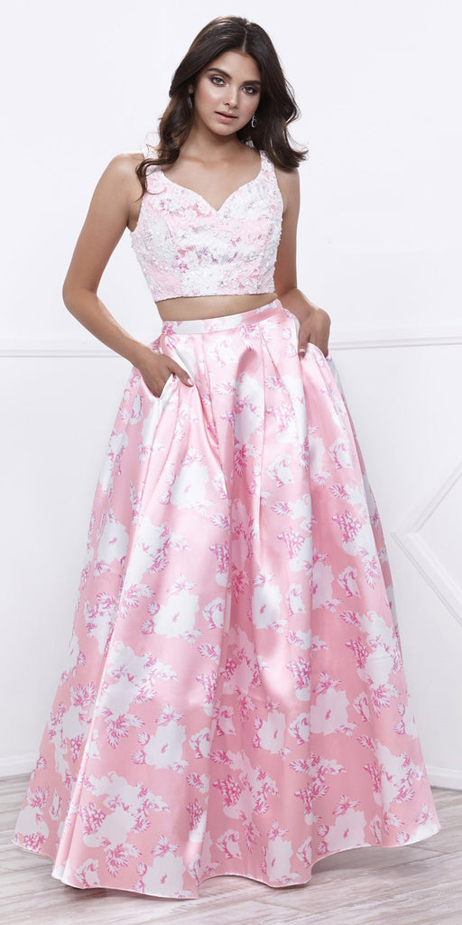 Lace Top Satin Floral Printed Skirt Two-Piece Prom Dress Long Pink