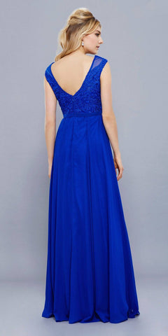 Royal Blue Cap Sleeves Lace Bodice Chiffon A-line Long Formal Dress
