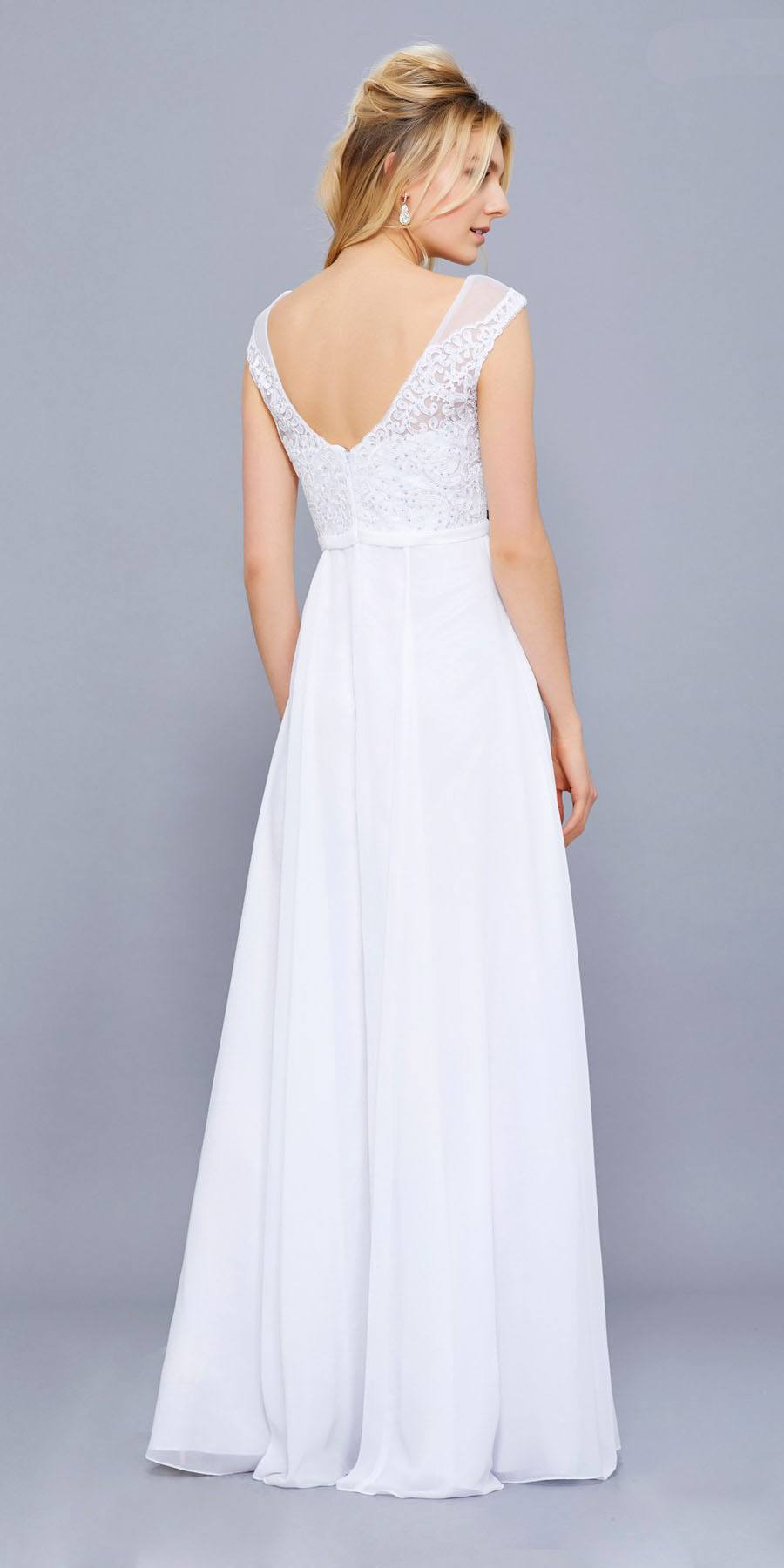 White Cap Sleeves Lace Bodice Chiffon A Line Long Formal