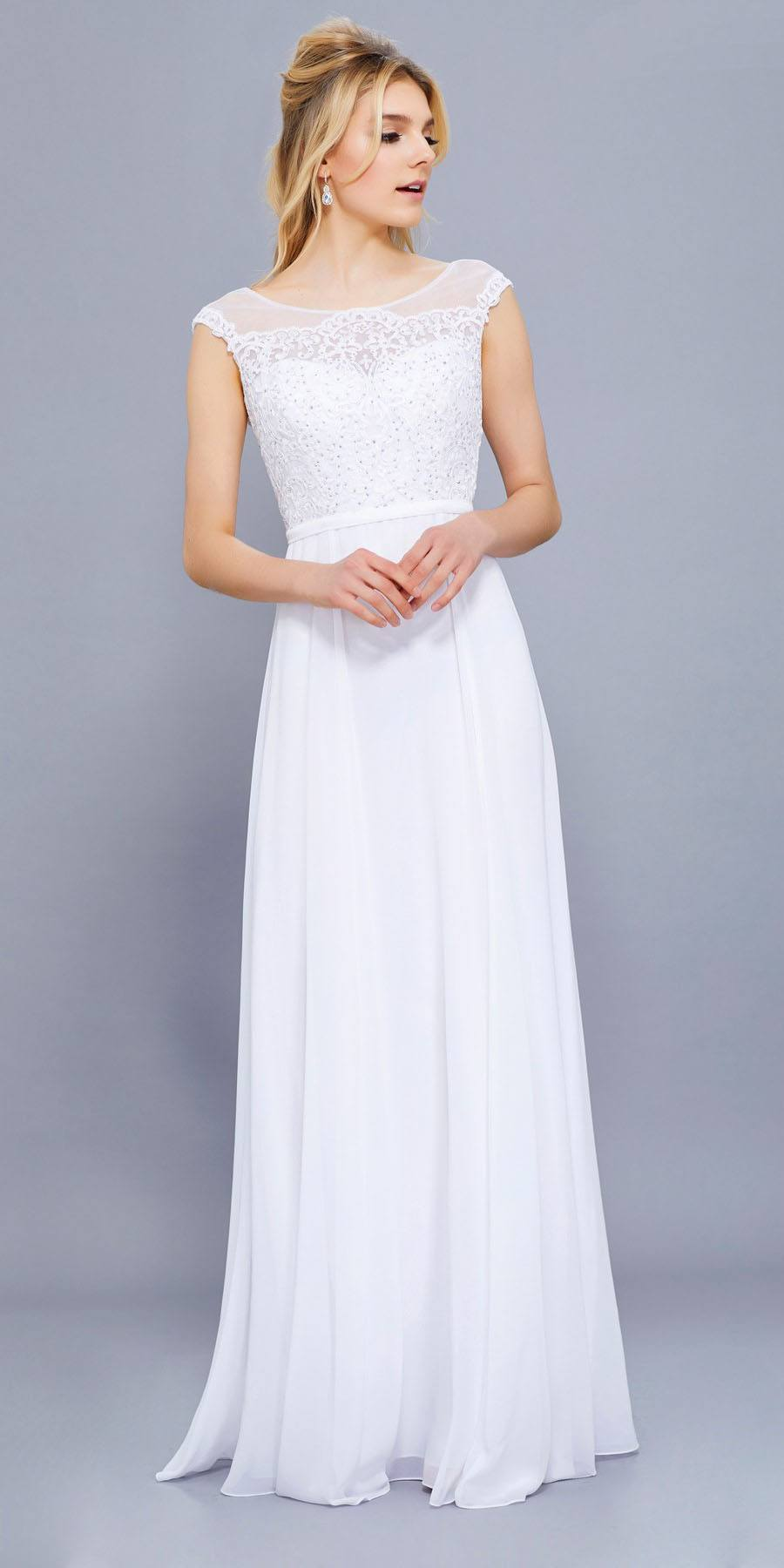 836783936c White Cap Sleeves Lace Bodice Chiffon A-line Long Formal Dress. Tap to  expand