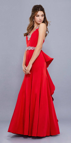 Embellished V-Neck Ruffled Cut-Out Back Mermaid Prom Dress Red