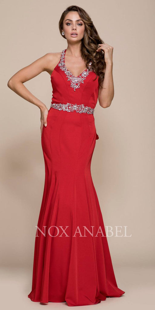 Nox Anabel 8315 Long Red Mermaid Dress Beaded V-Neck Ruffled Back