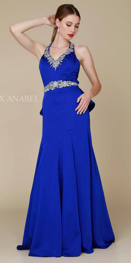 Nox Anabel 8315 Long Royal Blue Mermaid Dress Beaded V-Neck Ruffled Back