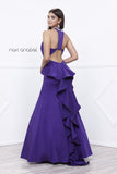 Embellished V-Neck Ruffled Cut-Out Back Mermaid Prom Dress Plum