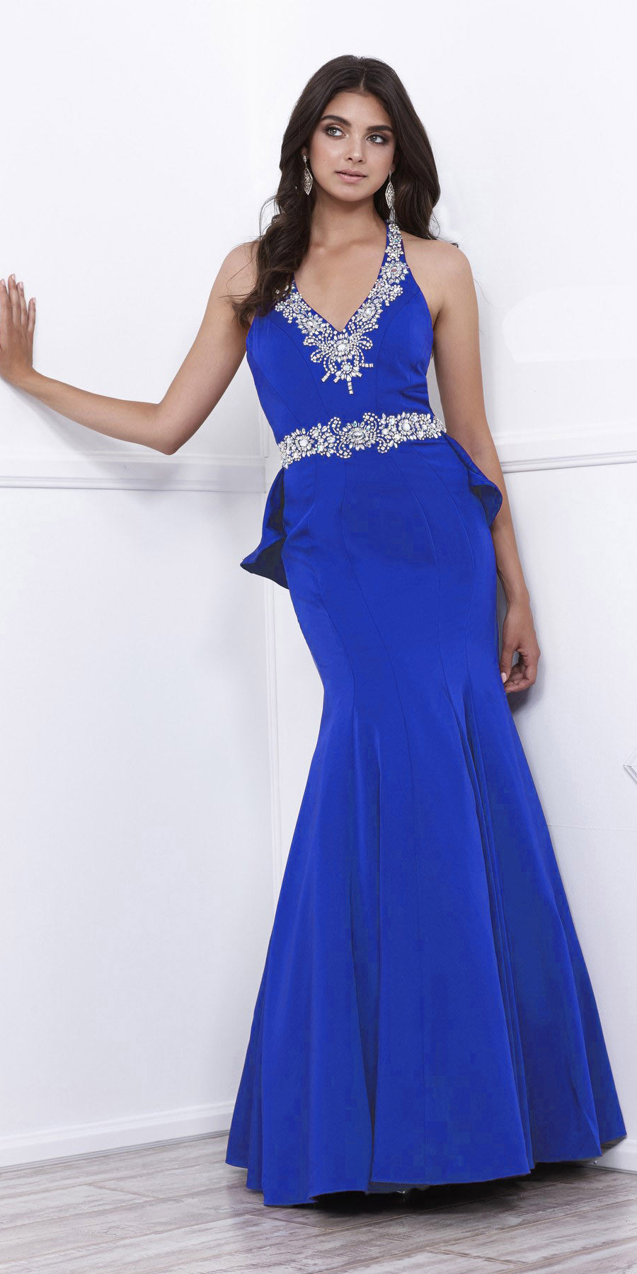 Embellished V-Neck Ruffled Cut-Out Back Mermaid Prom Dress Royal Blue