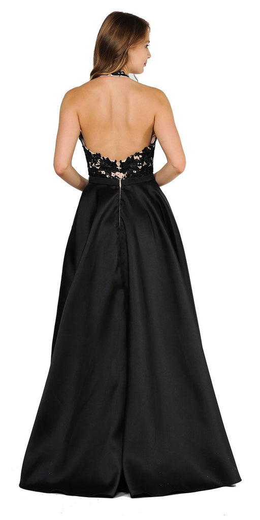 Open Back Halter Long Prom Dress with Pockets Black