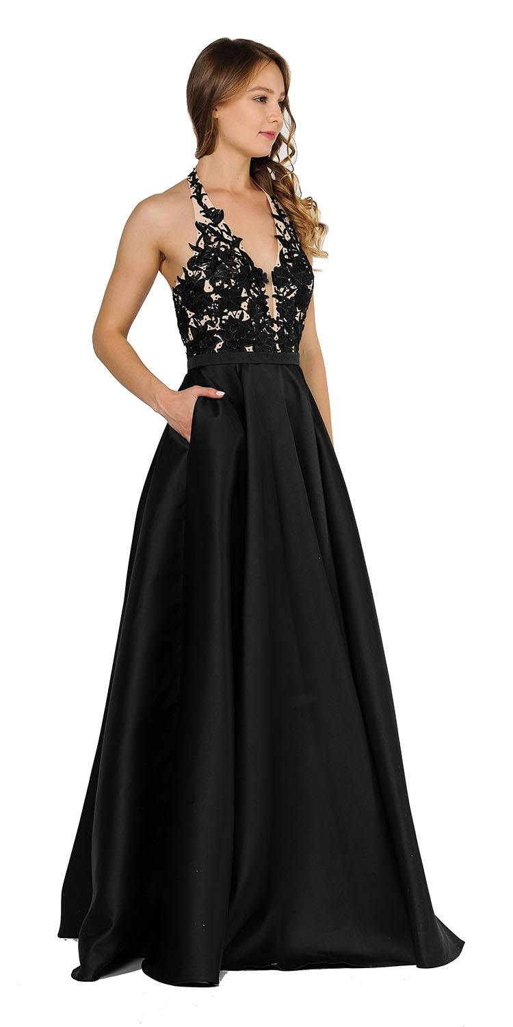9ee079ce4a Poly USA 8316 Open Back Halter Long Prom Dress with Pockets Black ...