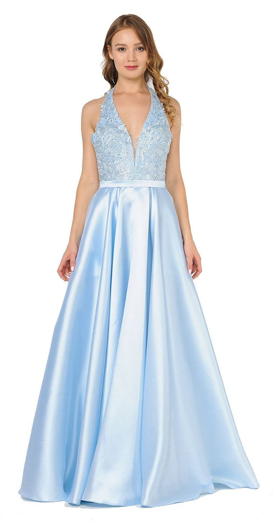 Open Back Halter Long Prom Dress with Pockets Blue