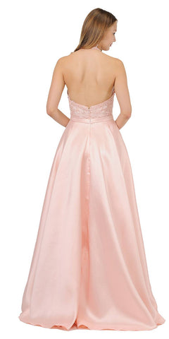 Open Back Halter Long Prom Dress with Pockets Blush