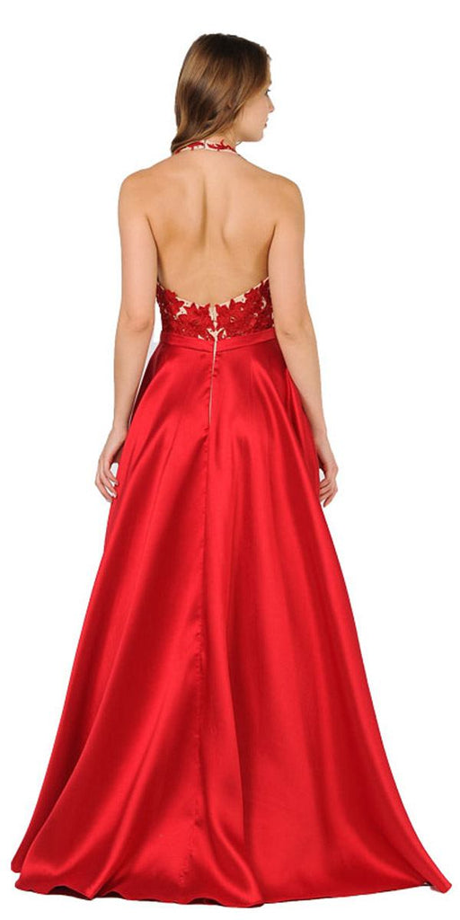 Poly USA 8316 Open Back Halter Long Prom Dress with Pockets Red