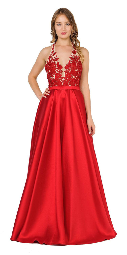 Open Back Halter Long Prom Dress with Pockets Red
