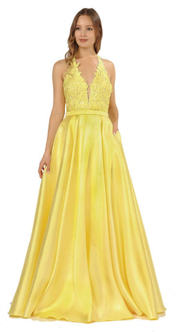 Open Back Halter Long Prom Dress with Pockets Yellow
