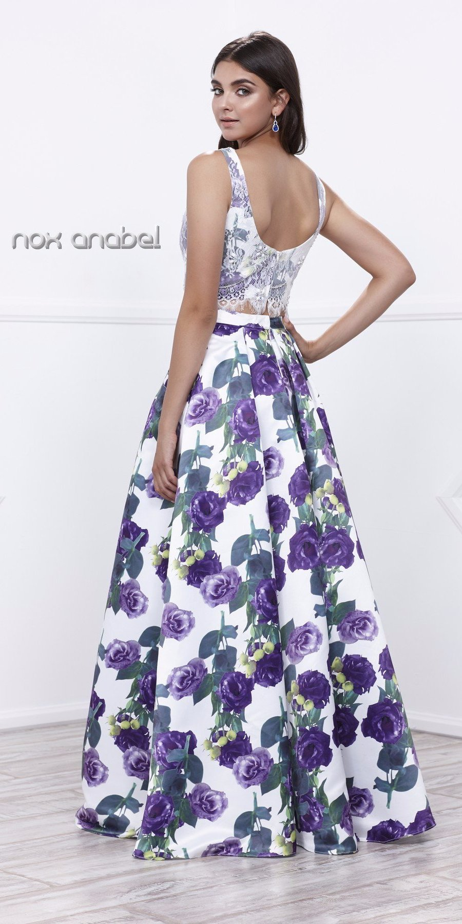 Two-Piece Bateau Neck Lace Top Floral Printed Ball Gown Purple