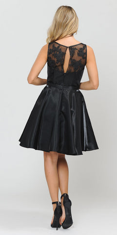 Sleeveless Black Homecoming Short Dress with Pockets