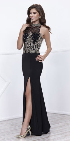 Black Halter Beaded Bodice Open Back Evening Gown with Slit
