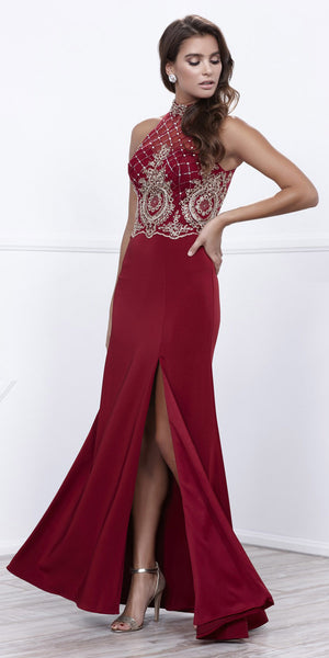 Burgundy Halter Beaded Bodice Open Back Evening Gown with Slit