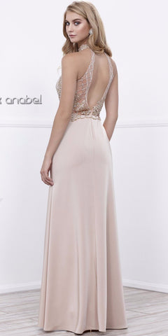 Cappuccino Halter Beaded Bodice Open Back Evening Gown with Slit