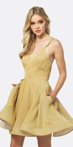 Juliet 832 A-Line Short Glitter Fit and Flare Short Dress Gold Side Pockets