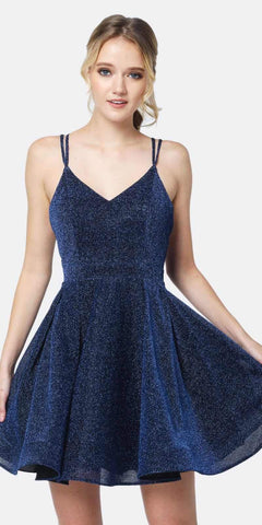Juliet 832 A-Line Short Glitter Fit and Flare Short Dress Navy Side Pockets