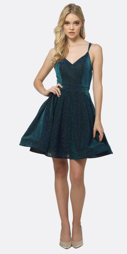 Juliet 832 A-Line Short Glitter Fit and Flare Short Dress Peacock Side Pockets