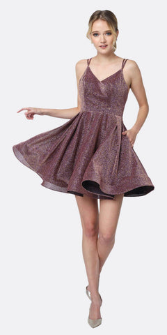 Juliet 832 A-Line Short Glitter Fit and Flare Short Dress Prism Side Pockets