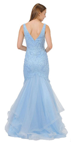 V-Neck Long Mermaid Tiered Prom Dress Blue
