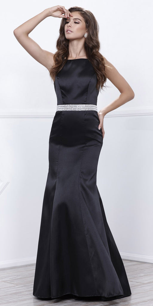 Black Satin Sleeveless Fit and Flare Prom Gown Embellished Waist