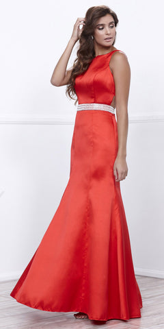 Red Satin Sleeveless Fit and Flare Prom Gown Embellished Waist