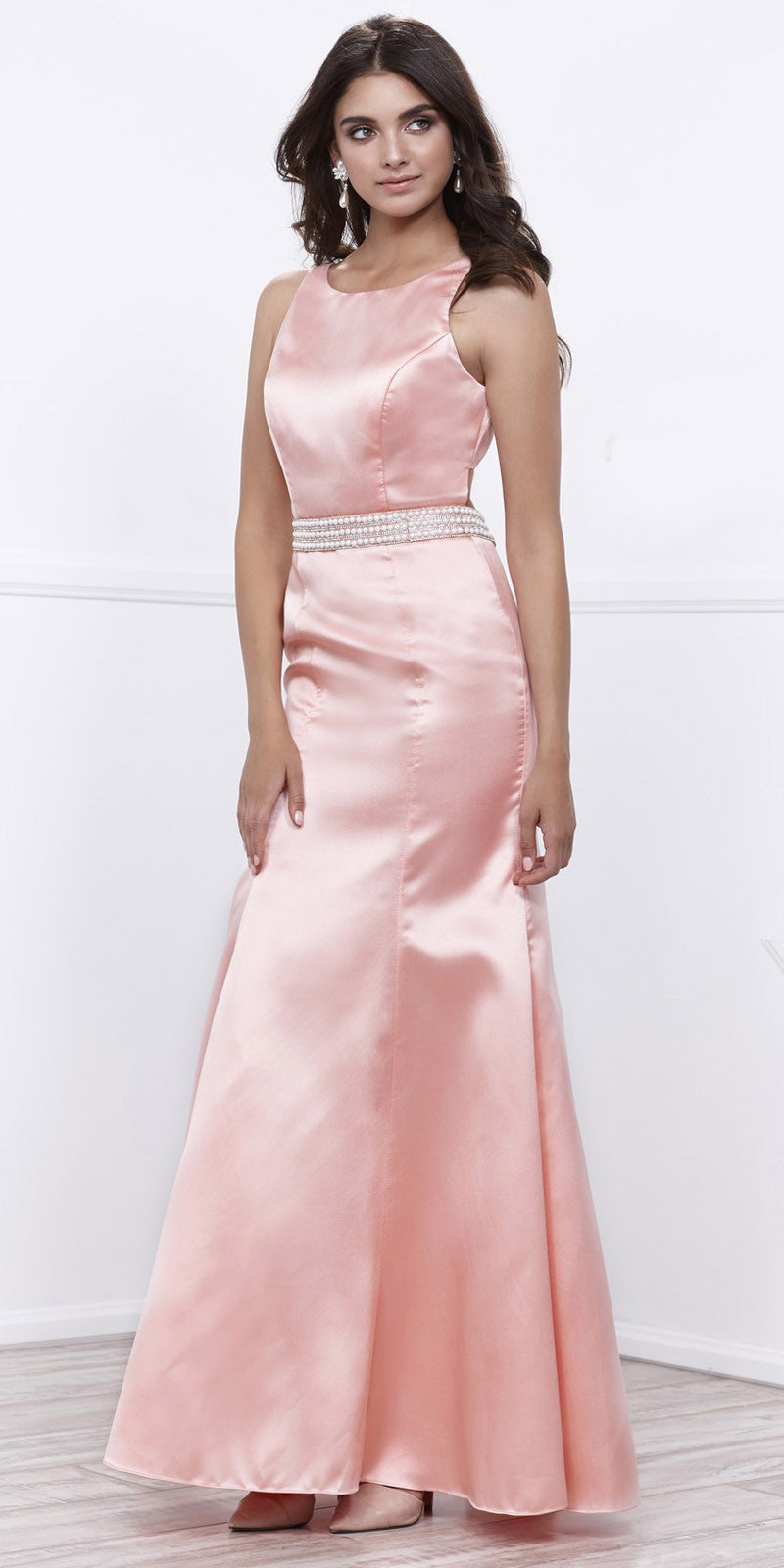 Royal Satin Sleeveless Fit and Flare Prom Gown Embellished Waist