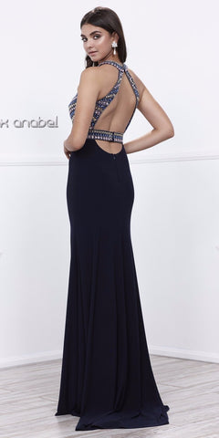 Navy Encrusted Halter Bodice Open Back Long Prom Dress with Slit