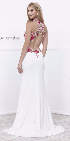 Embroidered Bodice Cut-Out Back Close Neck Long Prom Dress White