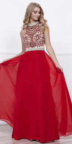 High Neck Embellished Illusion Bodice A-line Red Prom Dress Long