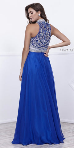 High Neck Embellished Illusion Bodice A-line Royal Blue Prom Dress Long
