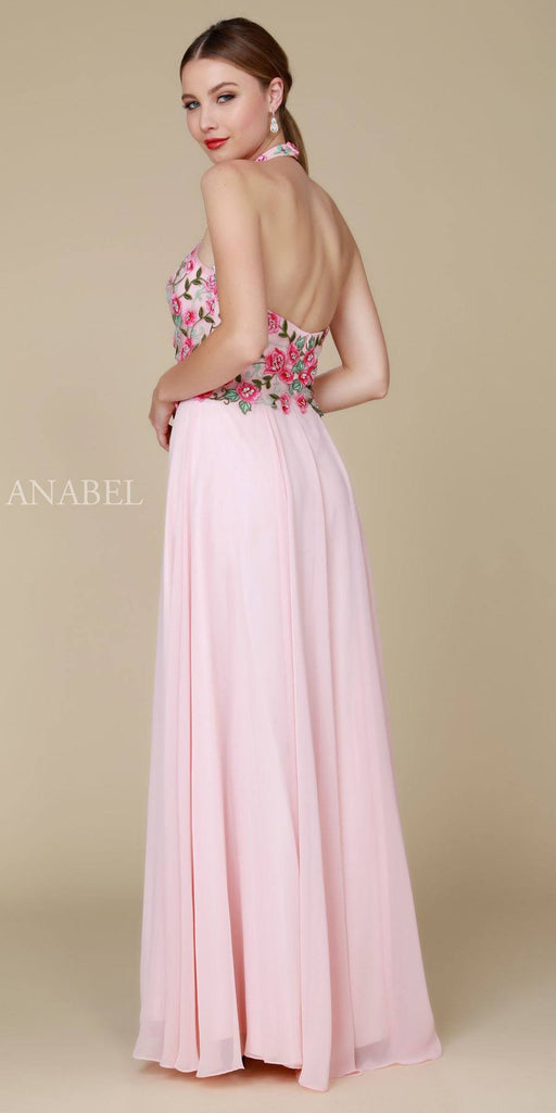 Nox Anabel 8326 Long Blush Dress Embroidered Bodice Halter Open Back
