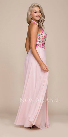Nox Anabel 8326 Embroidered Bodice Halter Open Back Long Formal Dress Side View