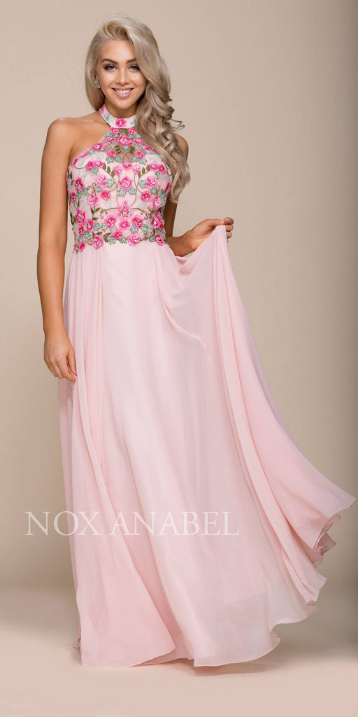 Nox Anabel 8326 Embroidered Bodice Halter Open Back Long Formal Dress