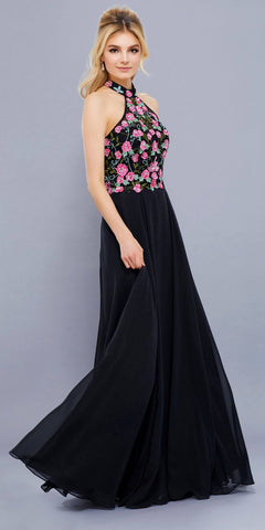 110e01ce6bd4 Black Embroidered Bodice Halter Open Back Long Formal Dress