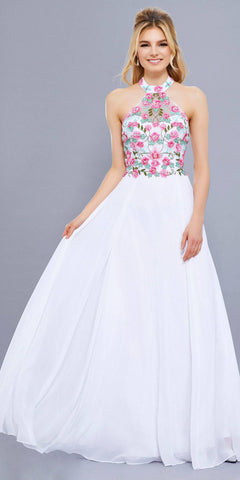White Embroidered Bodice Halter Open Back Long Formal Dress