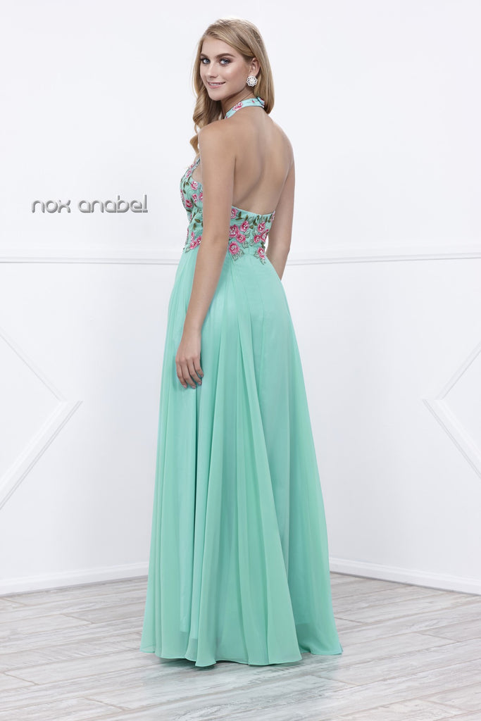Mint-Green Embroidered Bodice Halter Open Back Long Formal Dress
