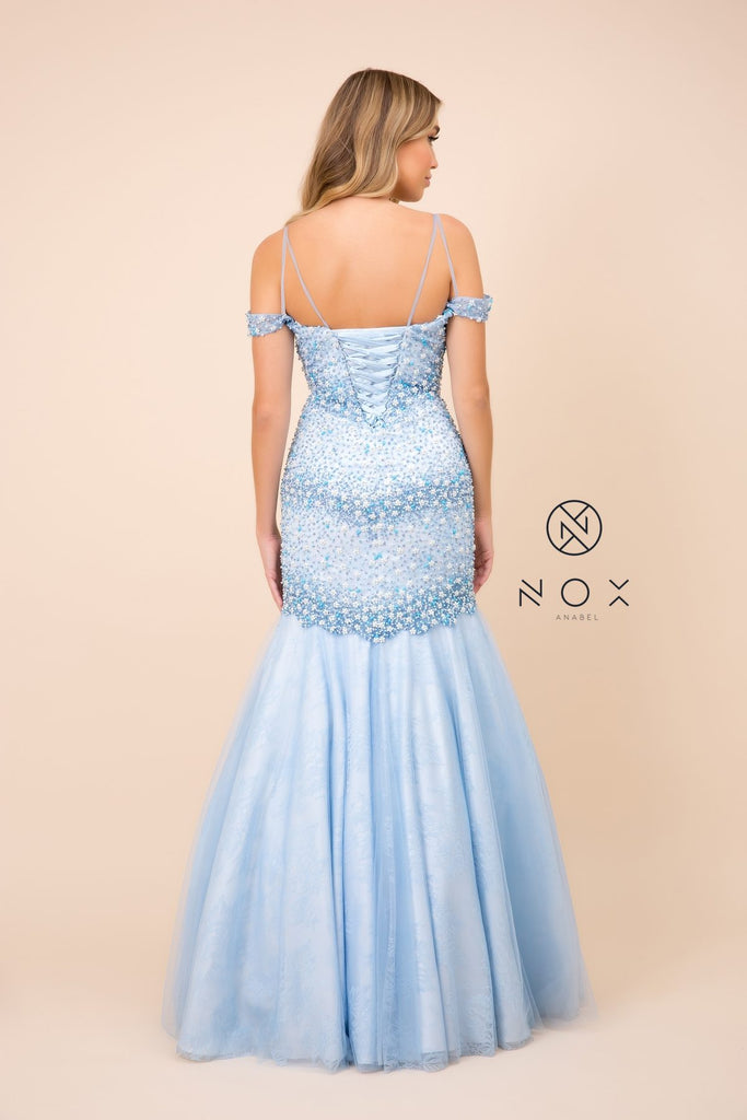 Nox Anabel 8328 Mermaid Off-Shoulder Dress Ice Blue Embellished Corset