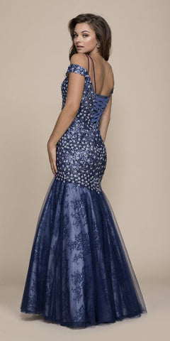 Nox Anabel 8328 Off-Shoulder Embellished Mermaid Floor Length Prom Dress Navy Blue