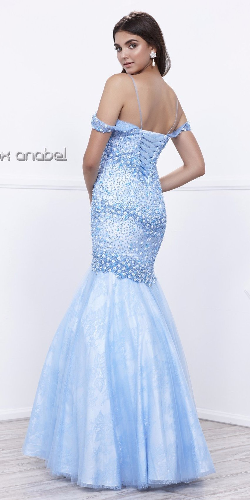 Off-Shoulder Embellished Mermaid Floor Length Prom Dress Ice Blue