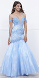 Nox Anabel 8328 Off-Shoulder Embellished Mermaid Floor Length Prom Dress Ice Blue
