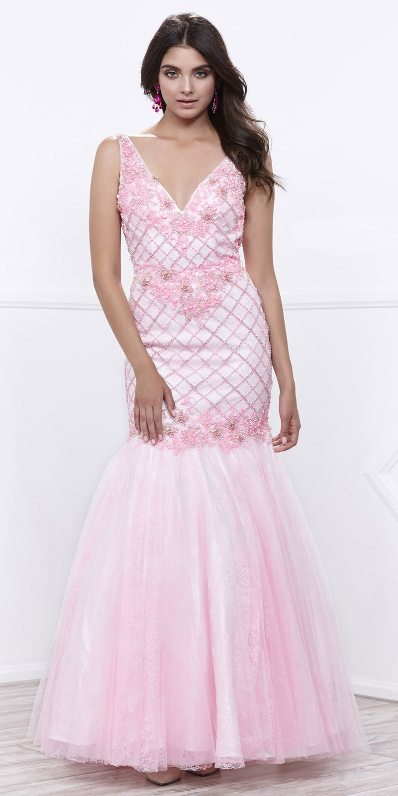 Embellished V-Neck Open Back Mermaid Prom Gown Baby Pink