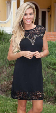 Short Charlotte Dress Black Crochet Lace Neck/Hem Cap Sleeve