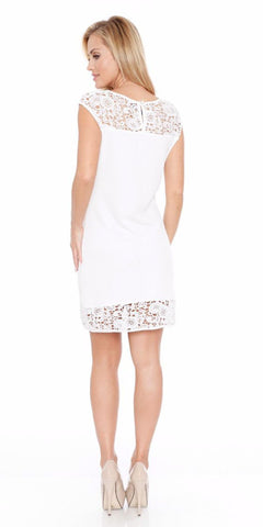 Short Charlotte Dress White Crochet Lace Neck/Hem Cap Sleeve