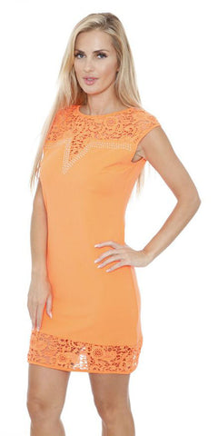 Short Charlotte Dress Orange Crochet Lace Neck/Hem Cap Sleeve