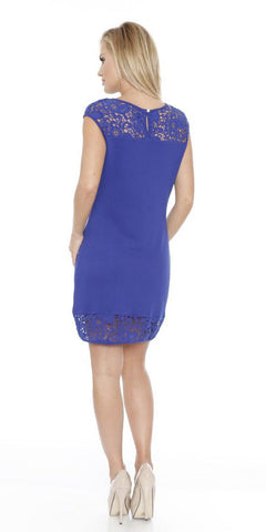 Short Charlotte Dress Royal Blue Crochet Lace Neck/Hem Cap Sleeve