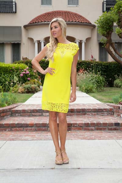 Short Charlotte Dress Yellow Crochet Lace Neck/Hem Cap Sleeve