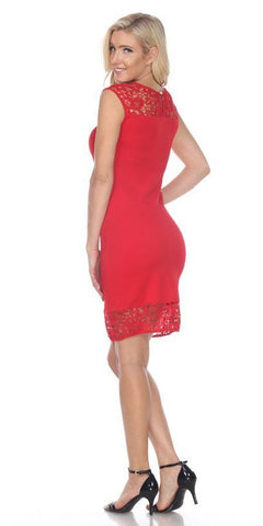 Short Charlotte Dress Red Crochet Lace Neck/Hem Cap Sleeve
